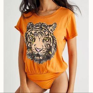 Free People X Daydreamer Tiger Tee Bodysuit